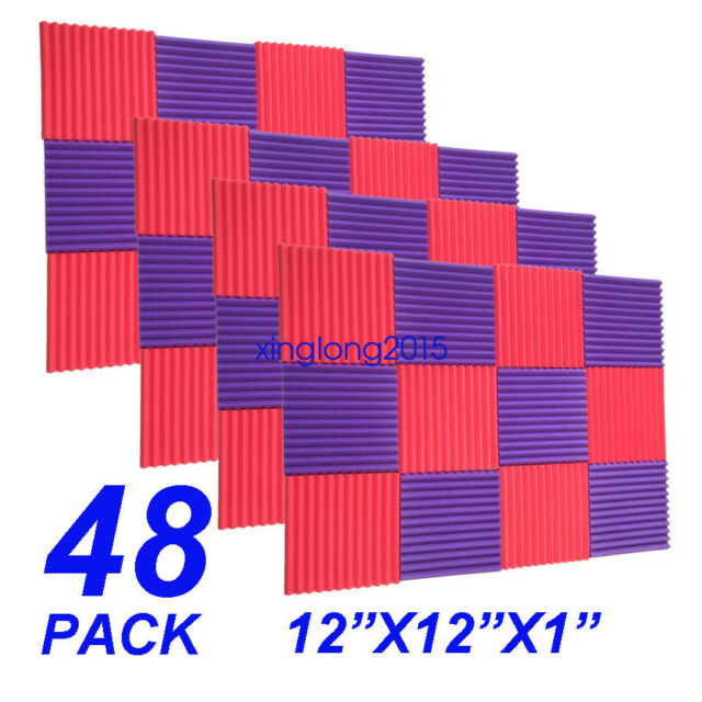 48 Pack Red Purple Acoustic Wedge Studio Soundproofing Foam Wall Tiles 12x12x1