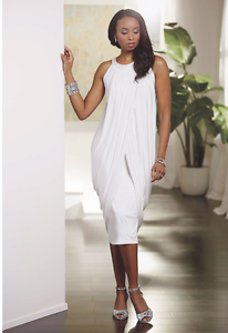 Ashro Cierra Dress White Formal Beaded Pearl Dinner Party S M L XL 1X 2X 3X PLUS