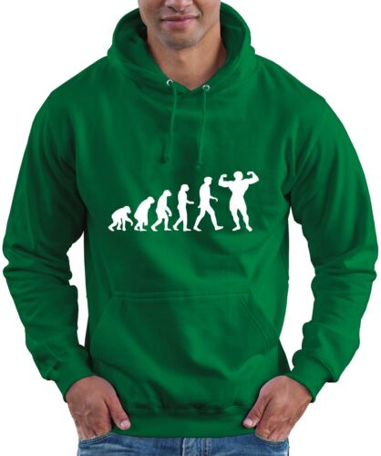 Evolution of Bodybuilding GYM Bodybuilder Muscle Hoodie Hooded Top All Szs Clrs