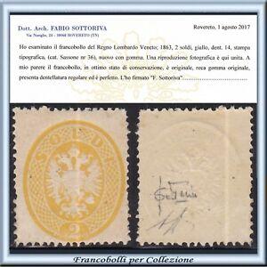 Asi-1863-Lombardo-Venecia-Escudo-2-Dinero-Amarillo-36-Certificado-Nuevo-Italia