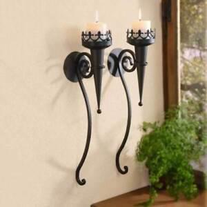 2er-Wandleuchter-Metall-Kerzenhalter-Fackel-Wanddeko-Antik-Leuchter-Kerzen-52-cm