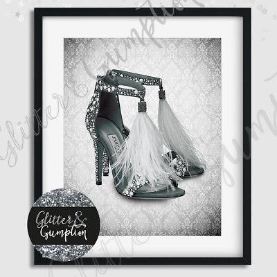 Fashion Art designer Shoes beautiful damask beauty office bedroom print