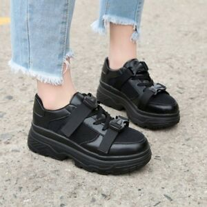 8d629653eec2e Details about Womens Lace Up Wedge Platform Sneakers Fashion Hidden Heels  Casual Buckle Shoes