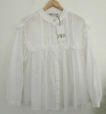 ZARA SS20 Oversized Poplin Blouse Tunic Top Bows Puff Sleeve S M L White Black
