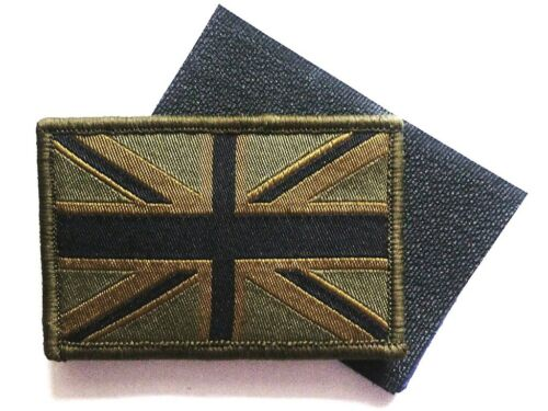 GB UNION JACK PATCH velcro backed UBAC army olive military flag badge UK Forces