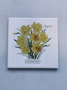 Vintage NANTUCKET Daffodil TILE, A Blechstein Screen Craft (Old Trivet) Yellow