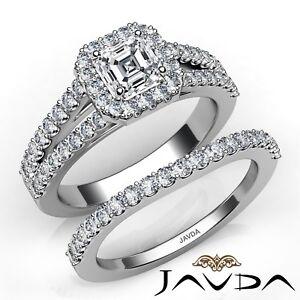 2-39ctw-Halo-Separado-Pata-Novia-Asscher-Anillo-de-Compromiso-Diamante-GIA-F-VS2
