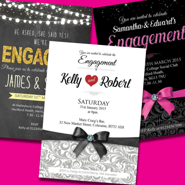Personalised Engagement Invitations Engagement Party Invites With Envelopes