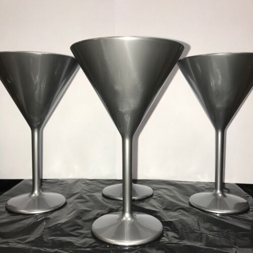 Silver Martini Glasses with flow lines SECONDS box4 NON GLASS SUPER SAFE