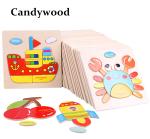 Wooden 3D Puzzle Jigsaw Baby Educational Toy Animals Shapes Fruits Cartoon New