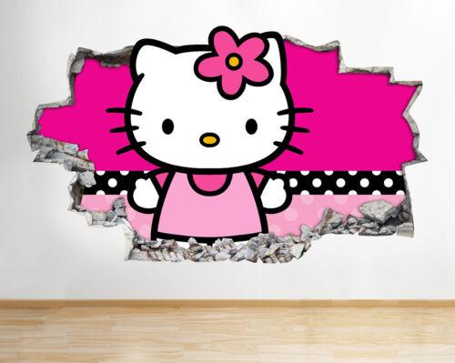 Autocollants Muraux Hello Kitty Mignon Filles Enfants Autocollant Poster 3D Art Vinyle Pièce H060