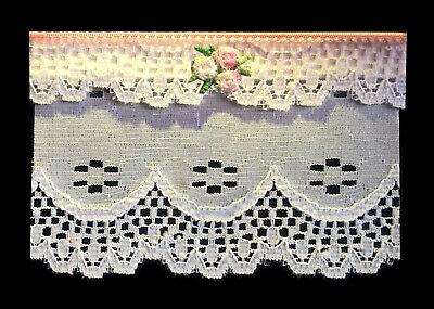 Piuttosto Bianco & Rosa Pizzo Finestra Tenda/tenda Per Dolls House-da Sylvia Rose-mostra Il Titolo Originale