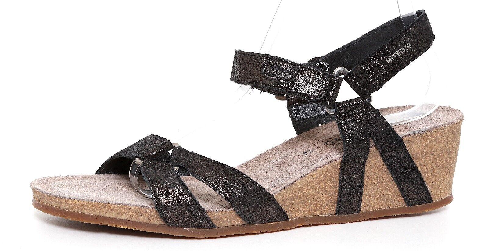 Mephisto Muguet cuarto Correa Sandalia Sandalia Sandalia de cuña negro metálico para mujeres talla 40 EUR 5210  los nuevos estilos calientes