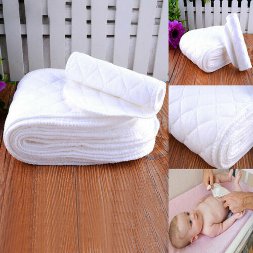 10 Baby Washable Cotton Diapers Liners Insert 3 Layer Infant Cloth Nappy 32*12cm