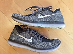 f0f81985db50 NIKE ID Free RN Flyknit Black White Grey Silver Shoes Custom Made ...