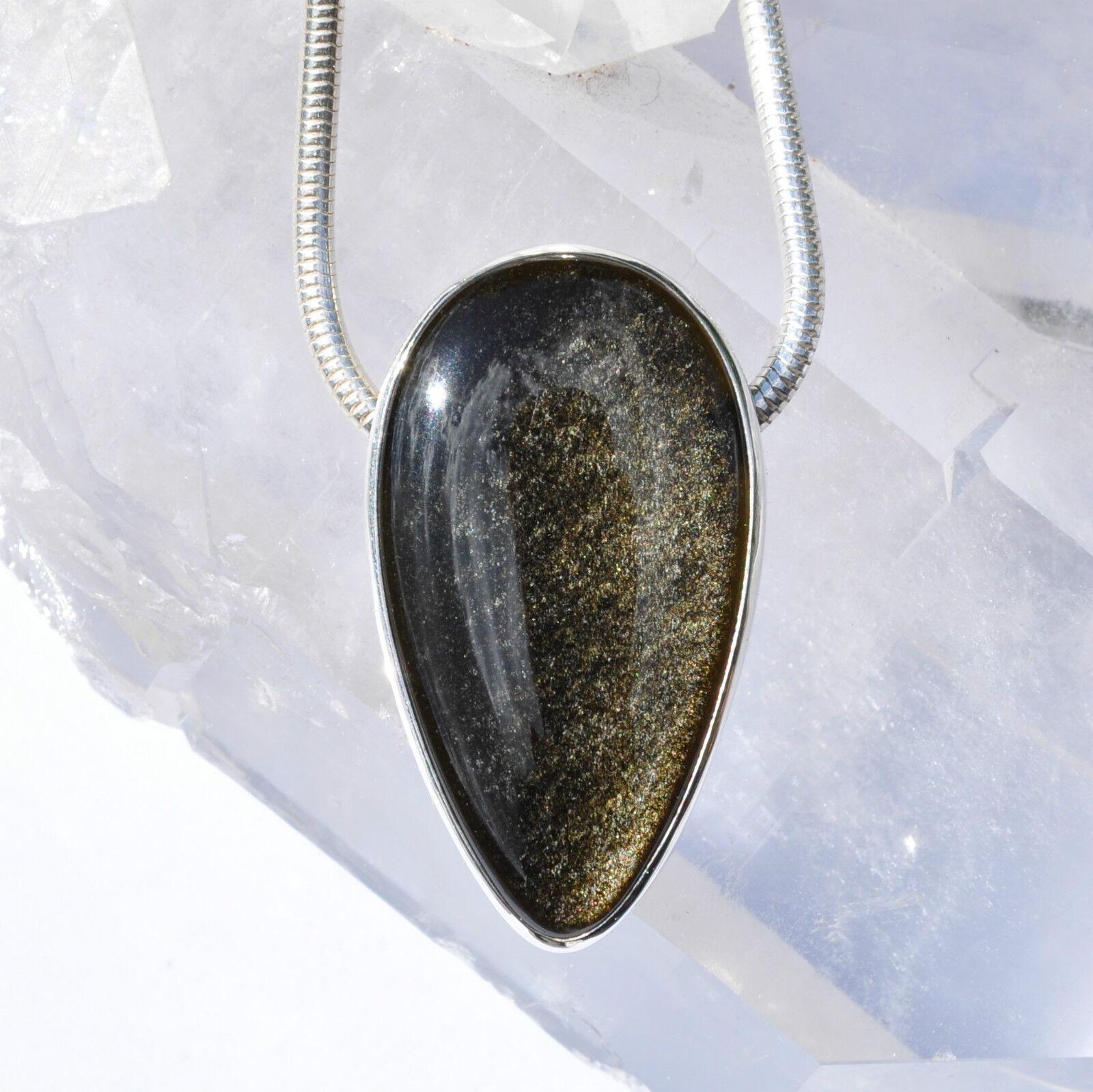 goldobsidian Anhänger, 925er silver, Edelsteinanhänger (11141), Obsidian