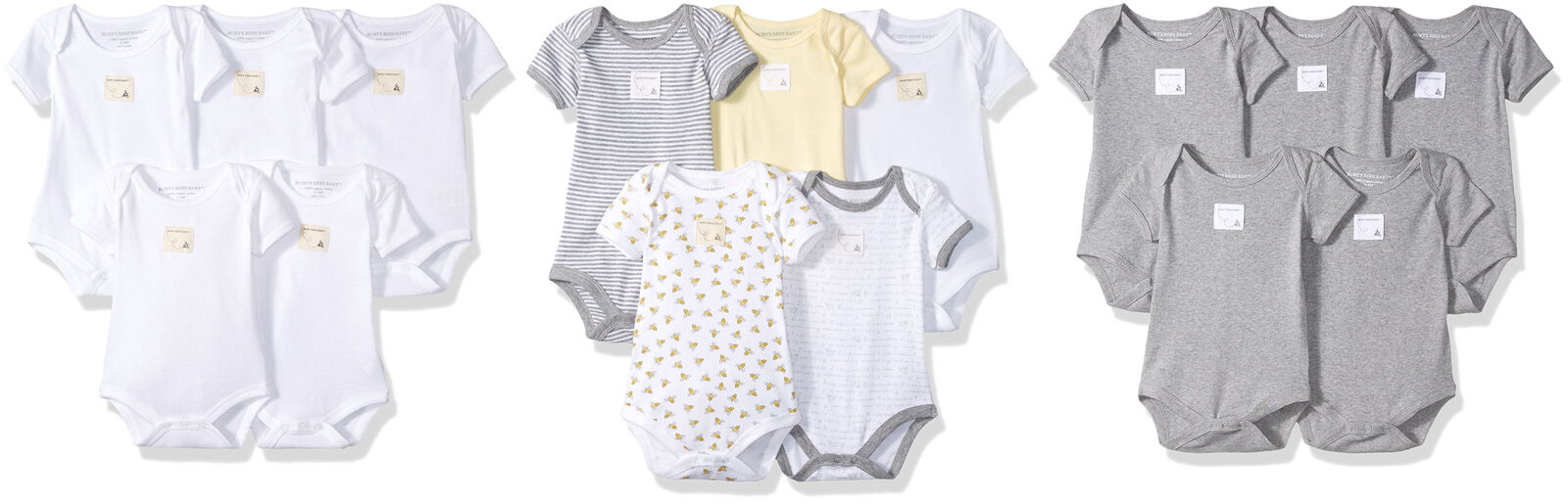 67b576d1f Burt's Bees Baby Set of 5 Bee Essentials Short Sleeve Bodysuits, 7 Colors