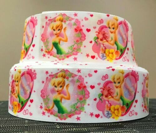 1 YARD Crafts 38mm wide CUTE TINKERBELL GROSGRAIN RIBBON Cake Decoration