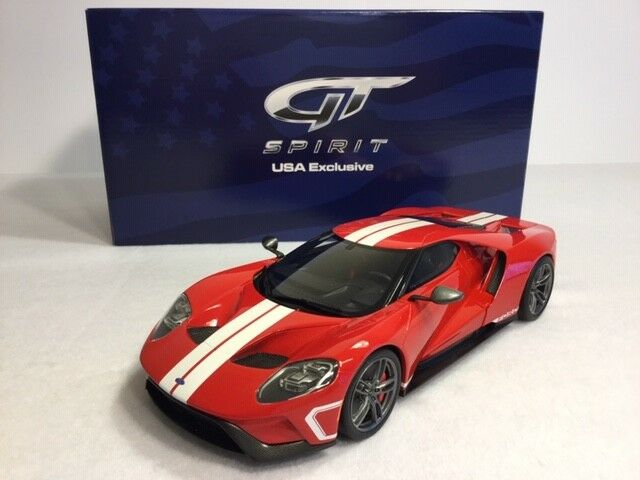 1 18 GT Spirit Ford GT 2017  rouge blanc Stripes ( USA EXCLUSIVE )