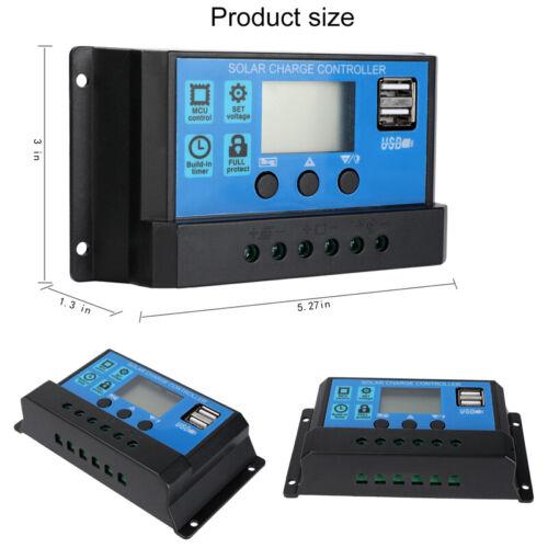 Solar Panel Charge Controller Regulator 12V//24V Auto Dual USB 30//60A Battery PWM