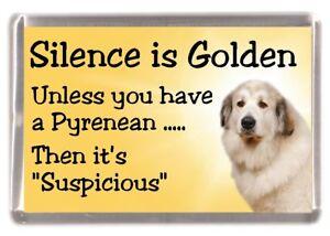 Pyrenean-Mountain-Dog-Fridge-Magnet-034-Silence-is-Golden-034-by-Starprint