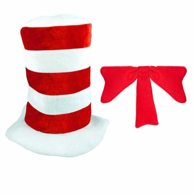 (red and White) - Childrens Childs Red White Tall Hat Book Day Fancy Dress  Cat  09baaad0e45e