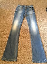 Zara Basic Slim Straight Leg Boot Cut Distressed Jeans Size 2 Light Wash