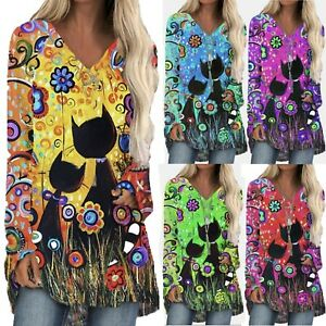 Women-Casual-Cat-Print-V-Neck-Long-Sleeve-Blouse-Loose-T-Shirt-Tops-Pullover-Buy
