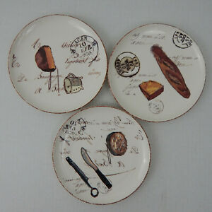 Williams-Sonoma-Appetizer-Salad-Plates-Set-of-3-French-Cafe-Theme-Cheese-Bread