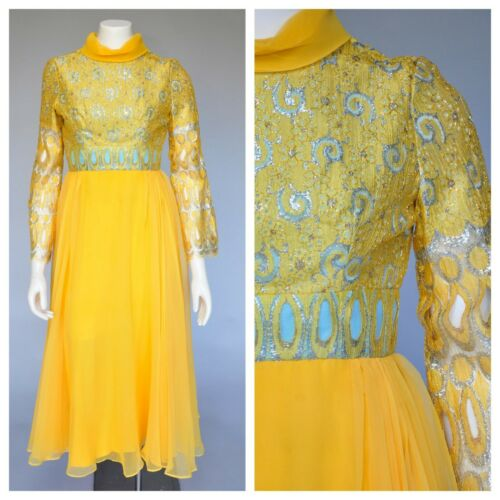 1970s 70s Bright Yellow Chiffon Maxi Dress Bell Sl