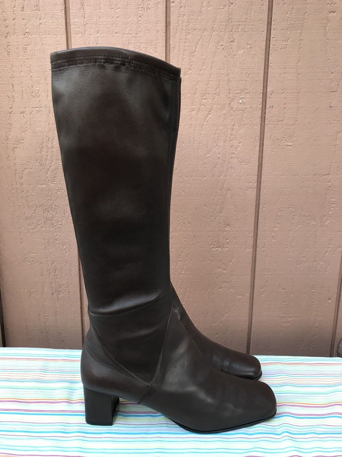 EUC Salvatore Salvatore Salvatore Ferragamo Womens US 11B Brown Pull On Boots Knee High Square Toe 28ba54