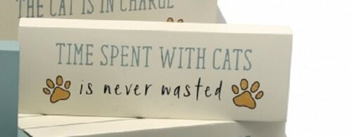 Paws for Thought Sentiment Cat Block Plaque Sign Funny Novelty Humerous GB02093