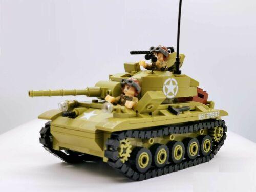 WWII US British M24 Chaffee Light tank World War 2 II WW2 USA Army MOC UK block