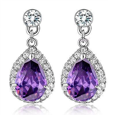 Elegant Waterdrop Purple Austrian Crystal Drop Earrings 18K Alloy Lady Gift E604