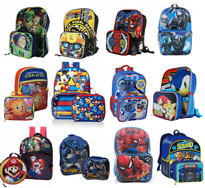 7c9b36a85727 Details about Little Boys School Backpack Lunch box Set Cartoon Book Bag  Kids Children Heroes