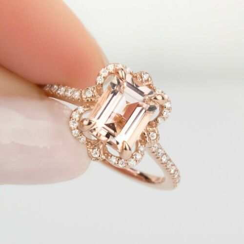 2.20Ct Emerald Brilliant Cut Morganite Halo Engagement Ring 14K Rose Gold Finish