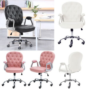 pretty nice c8bf5 61453 Details about Faux Leather Computer Chair Adjustable Swivel for Home Office  Desk -White & Pink
