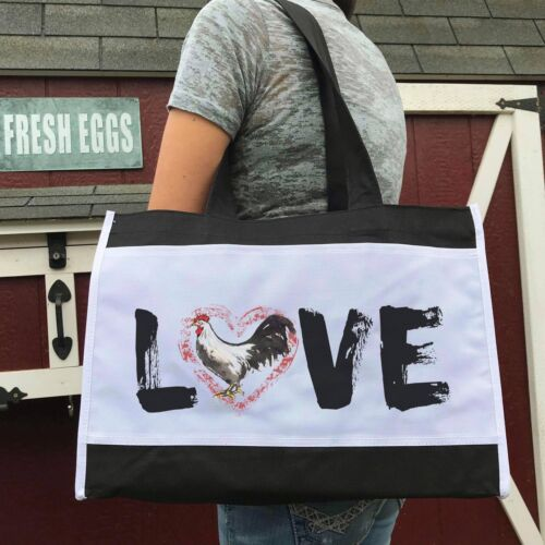 LOVE Rooster Chicken Farmers Market Tote Bag by Farm Wear