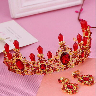 7cm High Red Crystal Wedding Bridal Party Pageant Prom Tiara Earrings Set