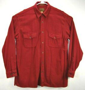 St-John-039-s-Bay-Mens-L-Tall-Chamois-Cloth-Flannel-Shirt-Red-Long-Sleeve-Cotton-EUC