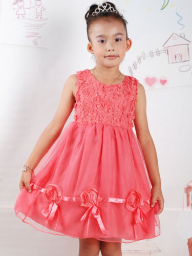 New Girls Flower Girl Party Pageant Cotton Dress Cream Salmon Pink 12-18 to 3-4