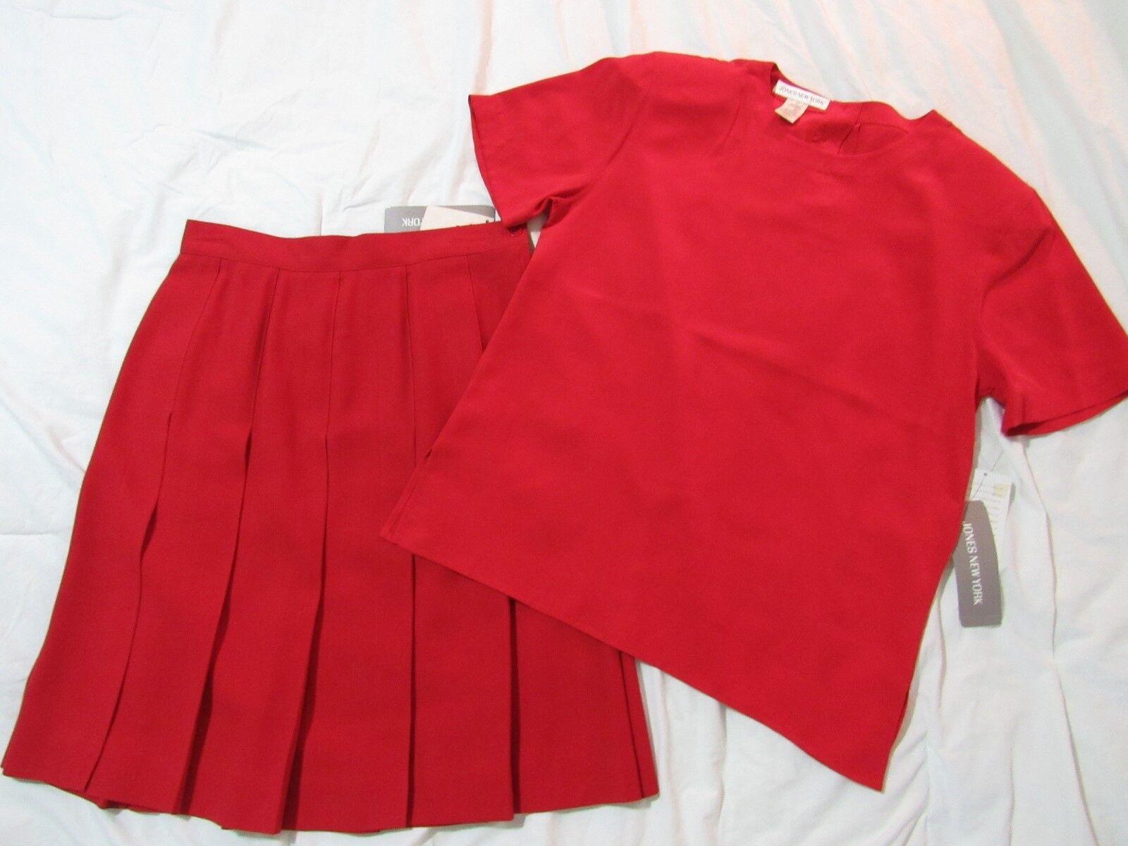 JONES NEW YORK 10 Red Pleated Wool Skirt & Short Sleeve Silk Top 2-Piece Set NWT