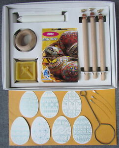Easter Egg Decorating Kit: H+M+F Wax Pens (Kistka)+15 Dyes+Wax+Stand<wbr/>+Dip+Candle+