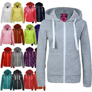 New-Womens-Ladies-Marl-Zip-Hoodie-Fleece-Jacket-Top-Hooded-Size-S-M-L-XL-XXL