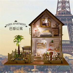 DIY-Paris-Cabin-Wooden-Dollhouse-Handcraft-Miniature-Kit-LED-Light-Best-Gift