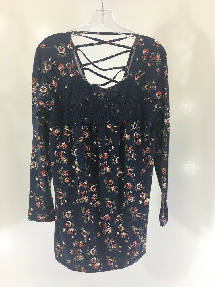 SUZANNE BETRO WOMEN'S LACE DETAIL FLORAL TUNIC NAVY MULTI LARGE NWT
