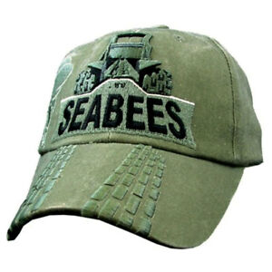 72c3074ad70 Image is loading US-Navy-Seabees-Bulldozer-Embroidered-Olive-Green-Military-