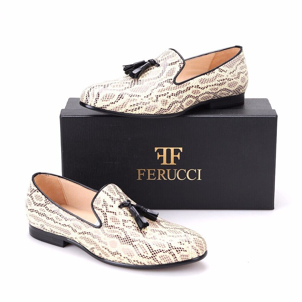 benvenuto a comprare FERUCCI Snake Pattern  Slippers loafers loafers loafers with nero Leather Tassel  bellissimo