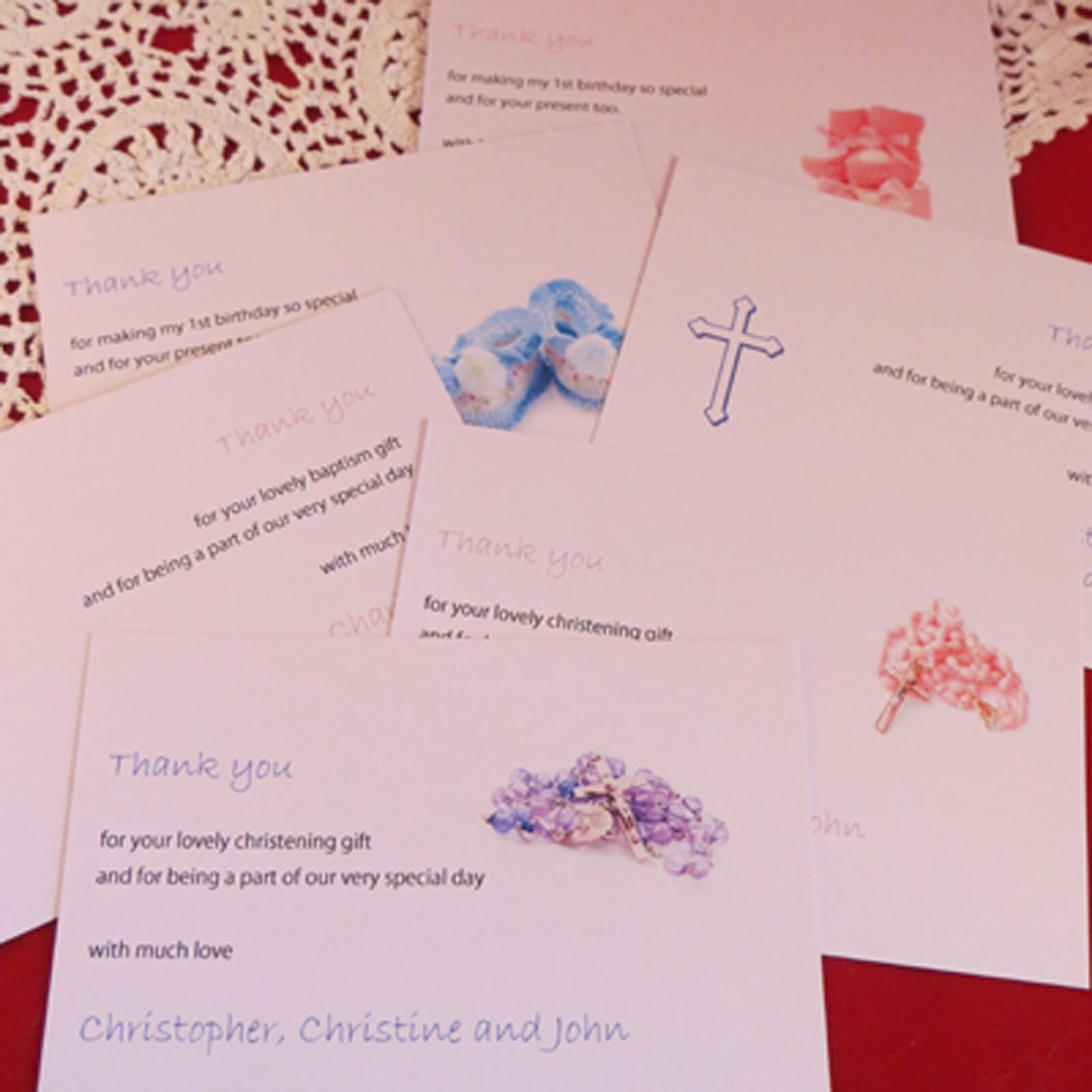 Personalised Thank You Cards Baby Shower Baptism Baptism Baptism Christening Birthday Boy Girl 0c1864