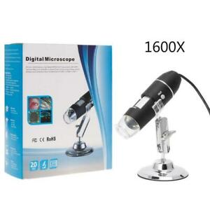 1600X USB 8 LED Microscope Digital Magnifier Endoscope Camera With Stand W0G7